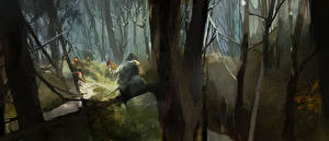 Обои Assassin's Creed 3 Солдаты Деревья Игры фото