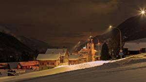 Обои Швейцария Дома Зима Снег Ночь Reckingen Goms Города фото