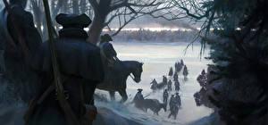 Обои Assassin's Creed 3 Солдаты Лошади Винтовки Зима Снег Игры фото