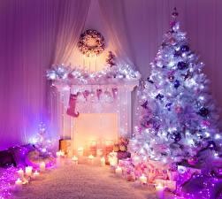 Фотографии Новый год Праздники Свечи Камин Елка Гирлянда