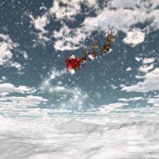 Обои для рабочего стола Новый год Небо Олени Облако Сани Снега Снежинка Природа 3D_Графика