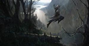 Обои Assassin's Creed 3 Воители Дождь Прыжок Ветки Игры фото
