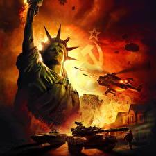 Обои Вертолеты Танки БМП World in Conflict Статуя свободы Русские Серп и молот Игры фото