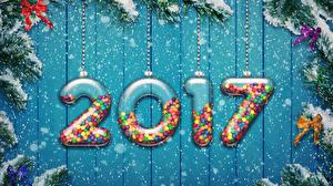 Обои Новый год 2017 Снег Бантик Елка Ветки фото