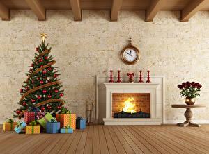 Фото Новый год Интерьер Часы Доски Камин Елка Подарки 3D Графика