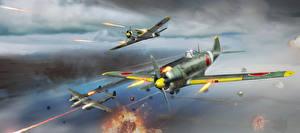 Обои War Thunder Самолеты Истребители Японские Выстрел Полет Игры фото