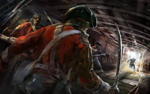 Обои Assassin's Creed 3 Солдаты Рисованные Сабли Игры фото