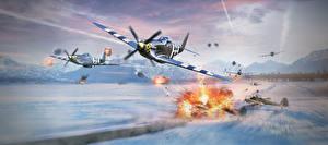 Обои War Thunder Самолеты Истребители Взрывы Американские Полет Игры фото