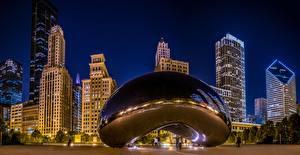 Обои США Дома Чикаго город millennium park Spaceship Earth Города фото