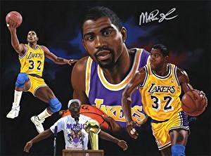 Обои Баскетбол Мужчины Мяч Негр Magic Johnson Lakers Спорт