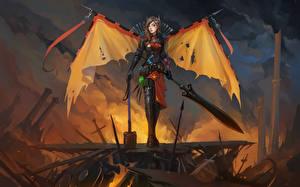 Обои DOTA 2 Legion Commander Воители Мечи Доспехи Игры Фэнтези Девушки фото