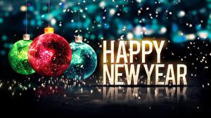 Фото Праздники Новый год Шар Слово - Надпись Английский