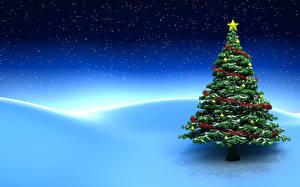 Обои Праздники Новый год Елка Снег