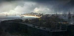 Обои Assassin's Creed 3 Дома Корабли Парусные Бостон Игры фото