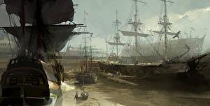 Обои Assassin's Creed 3 Корабли Парусные Рисованные Игры фото