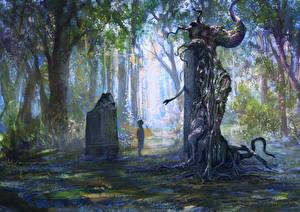 Обои The Witcher 2: Assassins of Kings Леса Змеи Мальчики Игры Фэнтези фото
