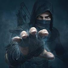 Фотография Thief Мужчины Маски Пальцы Капюшон Руки Garrett Игры