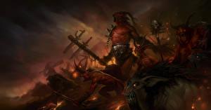 Картинки Diablo III Монстры Рога Крик Боевые топоры / Секиры Игры Фэнтези