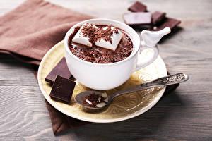 Картинка Горячий шоколад Шоколад Чашка Маршмэллоу Блюдце Еда