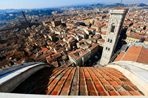 Обои Дома Италия Собор Сверху Башня Florence Cathedral of Saint Mary of the Flower Города фото