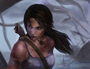 Фотографии Tomb Raider 2013 Лара Крофт Майка Игры Девушки