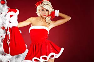 Обои Новый год Цветной фон Блондинка Униформа Платье Подарки Девушки фото