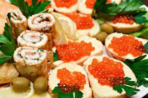 Обои Бутерброды Морепродукты Икра Еда фото