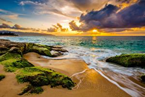 Обои Рассветы и закаты Побережье Волны США Пейзаж Океан Гавайи Мох Облака Пляж Природа фото