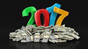 Обои Деньги Доллары Купюры 2017 Черный фон фото
