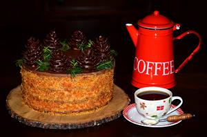 Обои Торты Шоколад Кофе Рождество Чайник На черном фоне Чашке Пища