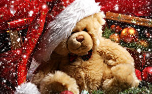 Картинки Мишки Праздники Новый год Шапки Снежинки
