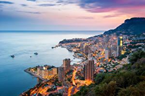 Обои Монте-Карло Монако Море Дома Горы Вечер Побережье Города фото