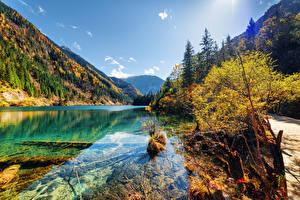 Обои Цзючжайгоу парк Китай Парки Озеро Горы Осенние Пейзаж