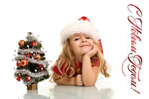 Обои Новый год Русские Белый фон Девочки Шапки Улыбка Елка Дети фото