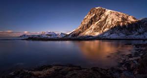 Обои Лофотенские острова Норвегия Пейзаж Горы Реки Снег Природа фото