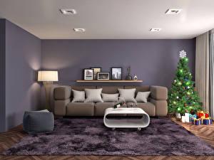 Обои Новый год Интерьер Елка Подарки Диван Ковер Лампа Подушки фото