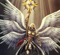 Картинка Ангелы Посохи Броня Крылья Crusader Фантастика