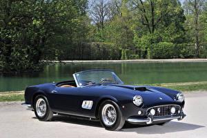 Фотографии Феррари Ретро Синяя Кабриолета Металлик 1961-63 250 GT California Passo Corto (fari aperti) Scaglietti авто