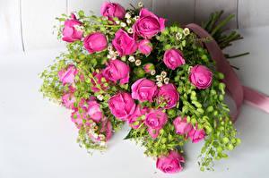 Обои Букеты Розы Розовый Цветы фото
