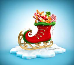 Фото Новый год Сладости Коньки Дизайн Еда