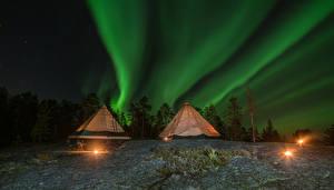 Фотография Лапландия область Финляндия Небо Звезды Северное сияние Ночь Палатка