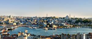 Обои Стамбул Турция Дома Мосты Причалы Города фото