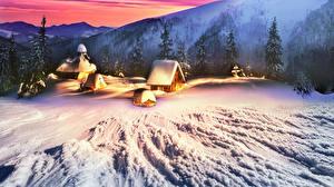 Фото Украина Горы Дома Зимние Карпаты Снег Ель Природа