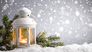Фотографии Зимние Свечи Фонарь Ветвь Снега Природа