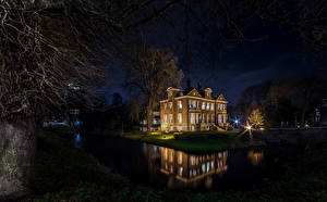 Обои Нидерланды Дома Реки Роттердам Ночь Деревья Города фото