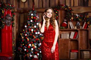 Фотографии Новый год Шатенка Платье Елка Девушки