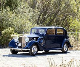 Картинки Rolls-Royce Ретро Синий Металлик 1938 Wraith Sports Saloon by Thrupp Автомобили