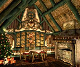 Обои Новый год Интерьер Стол Стулья Елка Потолок Подарки Дизайн Деревянный Камин 3D Графика фото