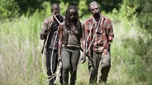 Фото Ходячие мертвецы Зомби Данай Гурира Негр Трое 3 Michonne Кино Девушки Знаменитости