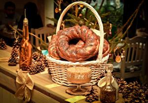 Обои Новый год Праздники Выпечка Корзинка Шишки Еда фото